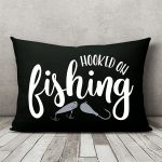 hooked on fishing pillow dark charcoal