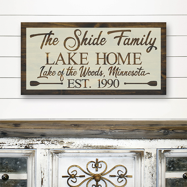 Family Lake Home Sign in Brown