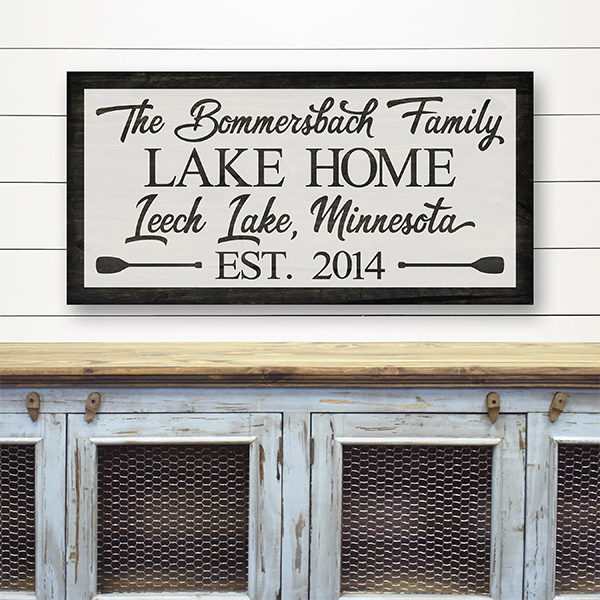 Family Lake Home Sign