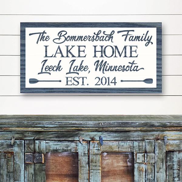 Family Lake Home Sign in Island Blue