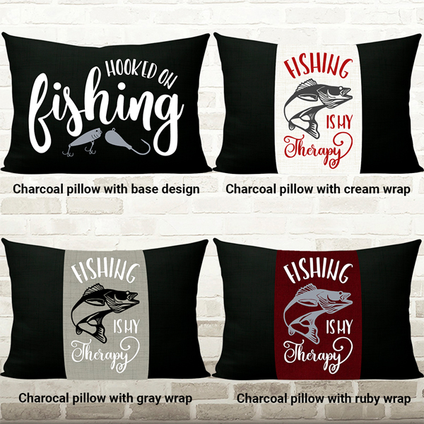 Hooked on Fishing Pillow-Charcoal choices