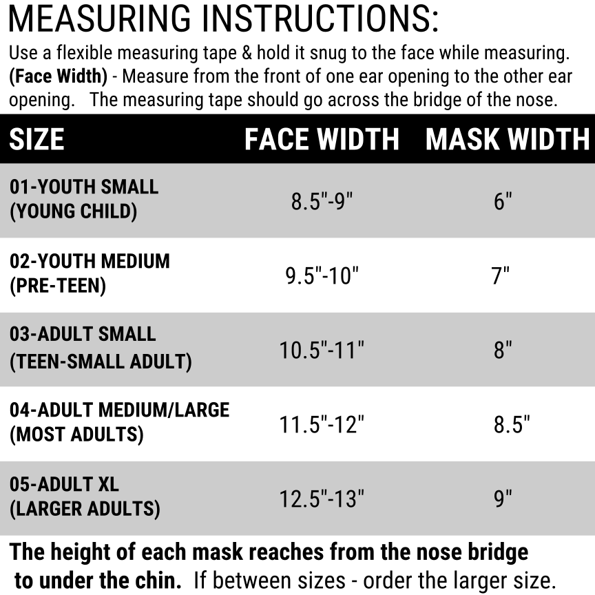 School Face Mask Set Sizing Chart