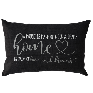 HOME IS MADE OF DARK CHARCOAL PILLOW