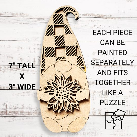 Sunflower Gnome DIY Décor Kit - Measurements