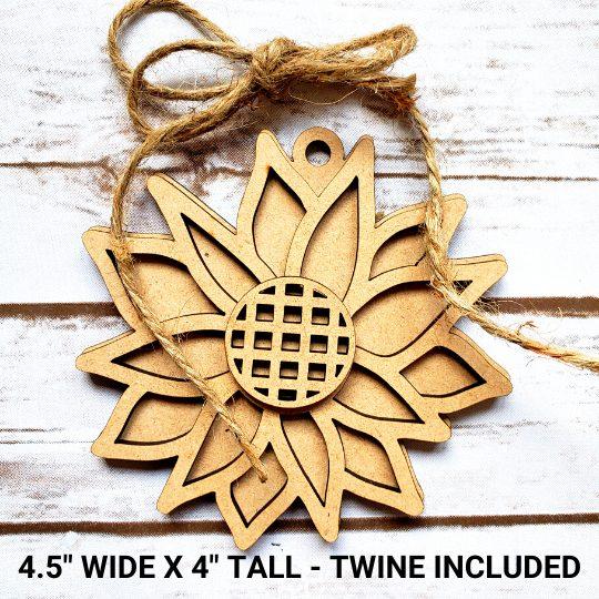 Sunflower Tag DIY Décor Kit - Measurements